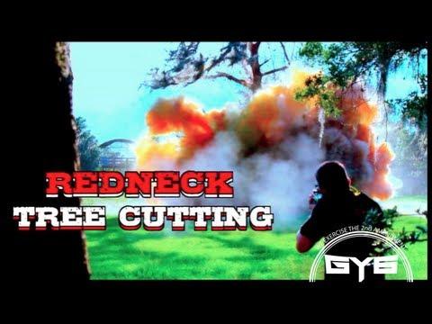 Redneck Tree Cutting - Massive Explosion