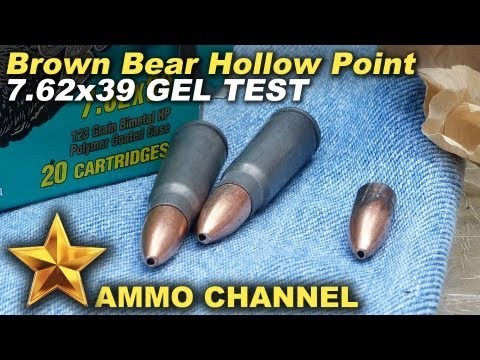 A gel test of the 7.62x39 Brown Bear Hollow Point.