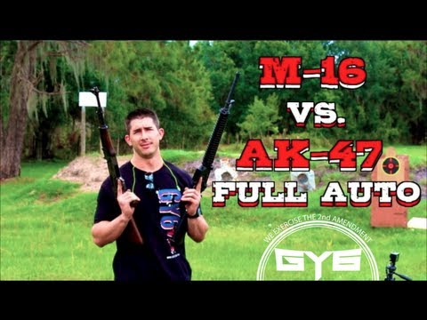 AK-47 vs M-16 Full Auto Showdown