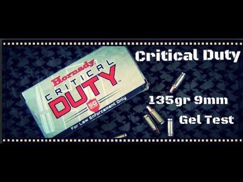 Hornady Critical Duty 135gr 9mm Ballistic Gel Test