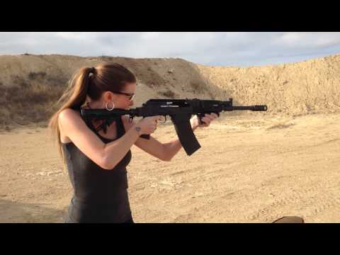 Kirsten Joy Weiss Shooting a SAIGA-12 Shotgun
