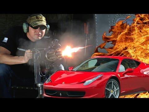 Helicopter Minigun vs Car