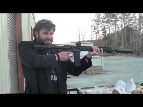 Suppressed Head Down 300 Blackout Rifle