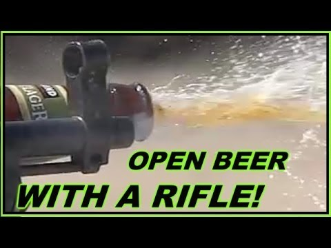 Opening a Beer with SKS Rifle