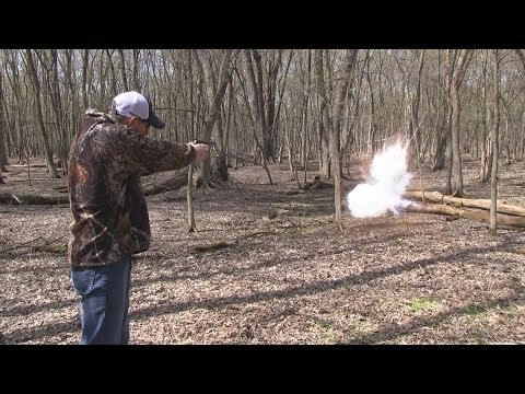 Colt Woodsman vs Swinging Exploding Target