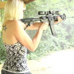 Shannon Shooting a Del-Ton AR-15 Rifle