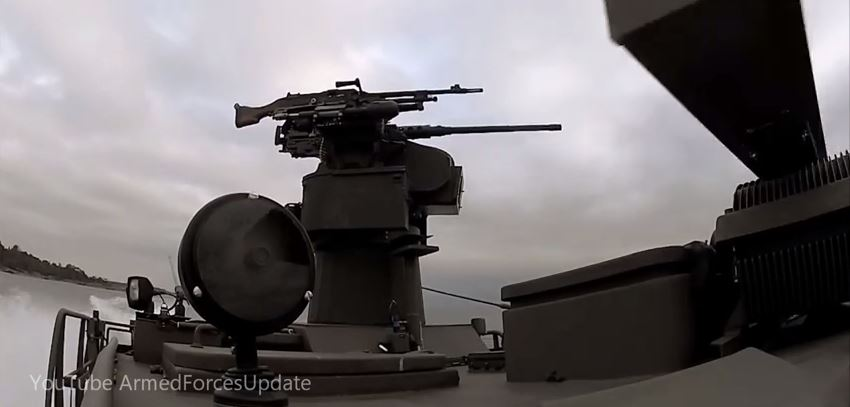 Trackfire Remote Weapon Station on Naval Patrol Boat