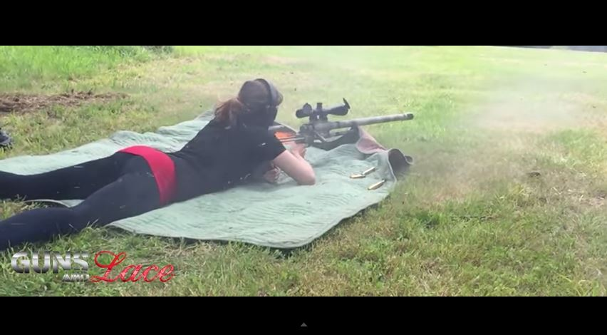 Guns and Lace Girl with Noreen Firearms ULR 50BMG