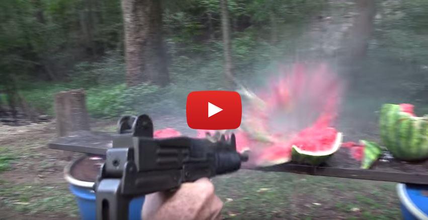 Uzi Submachine Gun vs Watermelon