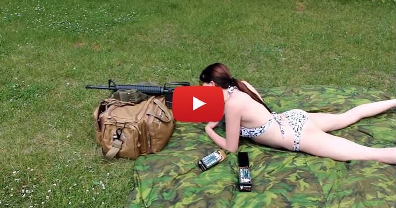 Shy Marie Shooting a Colt AR-15 Rifle